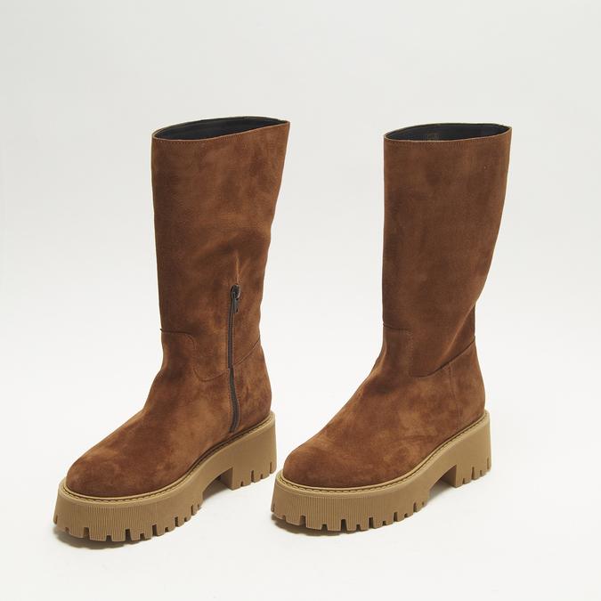 combat boots en suède à semelles track bata, Brun, 593-3836 - 26